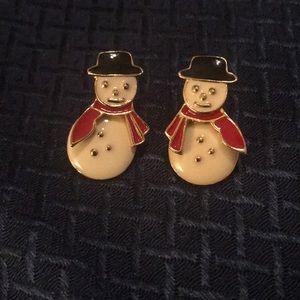 Avon Goldtone and Enamel Snowman Earrings